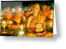 Monks In Meditation Greeting Card