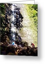 Monoa Waterfall  Greeting Card