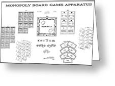 Monopoly Board Game Patent Art  1935 Greeting Card by Daniel Hagerman