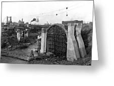 Monroe St Bridge Construction 1910 Greeting Card by Daniel Hagerman