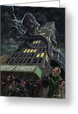 Monster Octopus Attacking Building In Storm Greeting Card