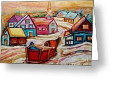 Mont St.hilaire Going Towards The Village Quebec Winter Landscape Paintings Carole Spandau Greeting Card