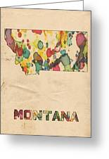 Montana Map Vintage Watercolor Greeting Card