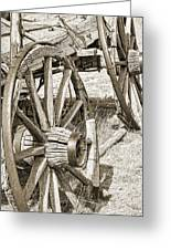 Montana Old Wagon Wheels In Sepia Greeting Card