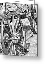 Montana Old Wagon Wheels Monochrome Greeting Card by Jennie Marie Schell