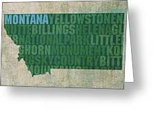 Montana Word Art State Map On Canvas Greeting Card