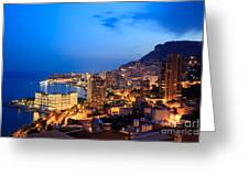 Monte Carlo Cityscape At Night Greeting Card