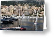 Monte Carlo Sailing - Monaco French Riviera Greeting Card