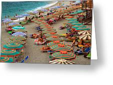 Monterosso Beach Greeting Card by Inge Johnsson