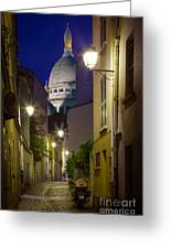 Montmartre Street And Sacre Coeur Greeting Card