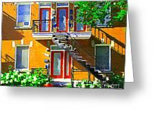 Montreal Art Seeing Red Verdun Wooden Doors And Fire Hydrant Triplex City Scene Carole Spandau Greeting Card