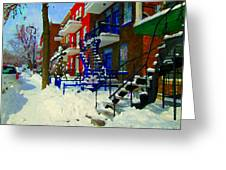 Montreal Art Streets Of Verdun Winter Scenes Winding Staircases Snowscenes Carole Spandau Greeting Card