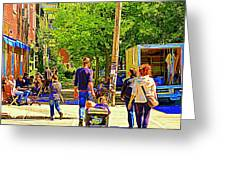 Montreal Art Summer Cafe Scene Rue Laurier Family Day Wagon Ride City Scene Art By Carole Spandau Greeting Card