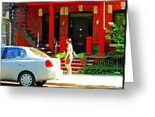 Montreal Art Summer Stroll On A Sunny Morning Colorful Street Verdun City Scene Carole Spandau Greeting Card