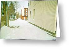 Montreal Art Urban Winter City Scene Painting Verdun Laneway After  Heavy December Snowfall Greeting Card
