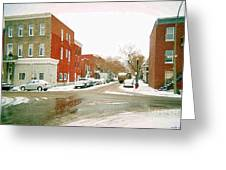 Montreal Art Winter Street Scene Painting The Point Psc Rowhouses In January Snow Cspandau Greeting Card
