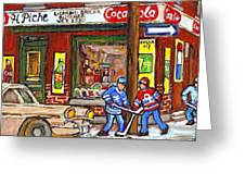 Montreal Hockey Paintings At The Corner Depanneur - Piche's Grocery Goosevillage Psc Griffintown  Greeting Card