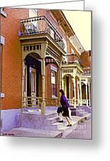 Montreal Memories Pretty Plateau Porches Lady Climbs Front Steps By Bricks Balconies Home Cspandau   Greeting Card