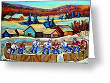 Montreal Memories Rink Hockey In The Country Hockey Our National Pastime Carole Spandau Paintings Greeting Card