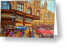 Montreal Memories-streetcars-morgan's Department Store At St.catherine And Union Greeting Card