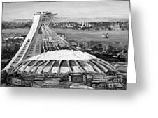 Montreal Olympic Stadium And Olympic Park-home To Biodome And Velodrome-montreal In Black And White Greeting Card