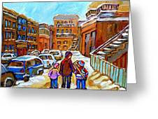 Montreal Paintings Winter Walk Past The Old School Snowy Day City Scene Carole Spandau Greeting Card