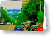 Montreal Skyline Decarie View Of Clock Tower Victoria Pier And Super Hospital Site Carole Spandau Greeting Card