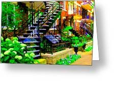 Montreal Staircases Verdun Stairs Duplex Flower Gardens Summer City Scenes Carole Spandau Greeting Card