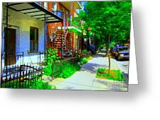 Montreal Stairs Shady Streets Winding Staircases In Balconville Art Of Verdun Scenes Carole Spandau Greeting Card