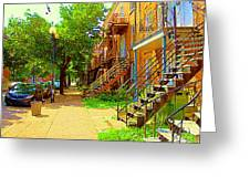 Montreal Stairs Winding Staircases And Sunny Tree Lined Sidewalks Verdun Scenes Carole Spandau  Greeting Card