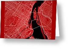 Montreal Street Map - Montreal Canada Road Map Art On Color Greeting Card