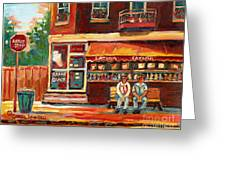 Montreal Street Scene Paintings Greeting Card