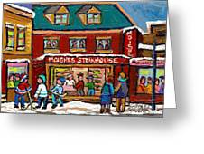 Montreal Winter Hockey At Moishes Greeting Card