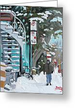 Montreal Winter Scene Mile End Greeting Card