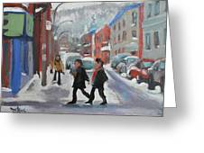 Montreal Winter Scene Mont Royal Greeting Card