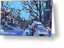 Montreal Winter Scene Morning Greeting Card