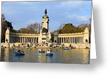 Monument And Lake In Retiro Park In Madrid Greeting Card