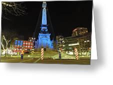 Monument Circle Indianapolis At Night Greeting Card