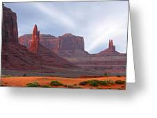 Monument Valley At Sunset Panoramic Greeting Card