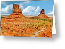 Monument Valley In Spring Panoramic Painting Greeting Card