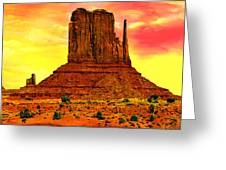 Monument Valley Right Mitten Sunrise Painting Greeting Card