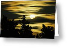 Moon And Clouds, Mont-saint-bruno Greeting Card