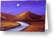 Moon And Cygnus Greeting Card by Janet Greer Sammons