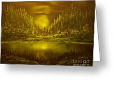 Moon Lake Reflection-original Sold- Buy Giclee Print Nr 33 Of Limited Edition Of 40 Prints  Greeting Card