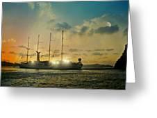 Moon Light On The Aegean Greeting Card