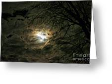 Moon Light With Clouds Greeting Card