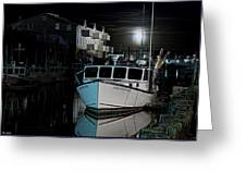 Moon Lit Harbor Greeting Card