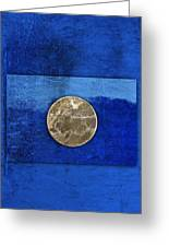 Moon On Blue Greeting Card by Carol Leigh