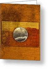 Moon On Gold Greeting Card by Carol Leigh
