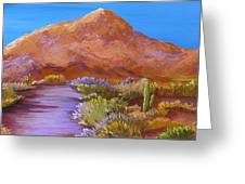 Moon Over Camelback Greeting Card